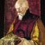 Портрет Н. К. Рериха с Ларцом (с Камнем). С. Н. Рерих. 1928. Холст, темпера. Частное собрание, США