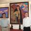 А. А. Бондаренко, В. Л. Мельников рядом с портретом Н. К. Рериха в Музее Николая Рериха в Нью-Йорке, наши дни.