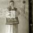 Портрет Н. К. Рериха. C. Н. Рерих. 1933. Шелк, темпера (фотография непосредственно после завершения портрета).
