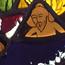 Н. К. Рерих и С. С. Митусов, купающиеся в Реке Жизни. Неизвестный мастер. Витраж. 1910-е. Стекло цветное, роспись, свинцовая оплётка, стальной каркас. 40,5х28,5. Музей-институт семьи рерихов в СПб.