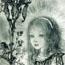 Девочка с ирисом в руке. 1946