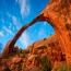 Landscape Arch (арки), Национальный парк Арок, Юта. Парк расположен в красной пустыне штата Юта. Осадочные породы, лежащие на соляной подушке бывшего моря, превратились под своим собственным весом в с