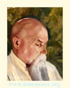 С. Н. Рерих. Портрет Н. К. Рериха. 22,5x29,7. Холст на картоне, масло