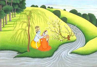 Радха и Кришна. Индийская миниатюра