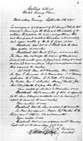 Протокол собрания учредителей Теософского общества. Написан рукой У. К. Джаджа. Нью-Йорк, 08 сентября 1875