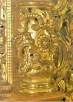 Фрагмент резьбы иконостаса Смоленского собора Новодевичьего монастыря в Москве