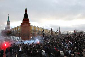 Манежная площадь в Москве. Декабрь 2010 года.