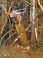 Иллюстрация «Баба-Яга» кисти Ивана Яковлевича Билибина к сказке «Василиса Прекрасная»