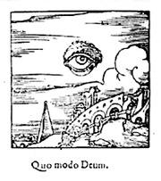 Алхимическая гравюра на дереве, показывая всевидящие око Бога, плавающее в небе