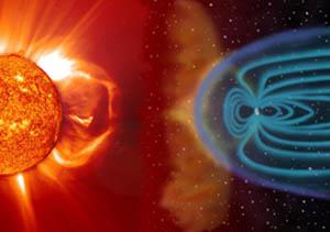 Кроме лучей света, то есть электромагнитных волн, которые Солнце посылает к Земле, между этими небесными телами существуют и другие, менее заметные, но тоже важные связи. Солнечное магнитостатическое поле сильно искажает магнитное поле Земли. Но ещё сильнее на геомагнитное поле воздействует поток заряженных частиц, так называемый солнечный ветер. Фото: SOHO/ESA, NASA