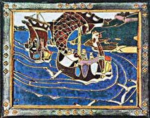 Декоративная плитка. Эмаль. По картине Н.К. Рериха –Заморские гости.