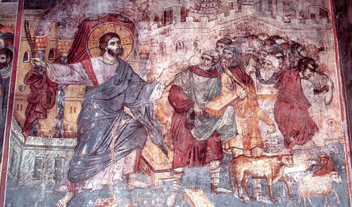 Х111 век. Мануил Панселин. Изгнание торговцев из храма.