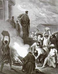 Ефесяне сжигают книги после проповеди Павла. Гюстав Доре.