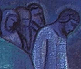 Фрагмент картины  «Сожжение тьмы» с фигурами на дальнем плане.