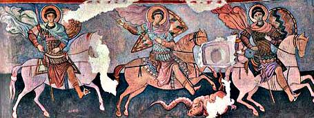 Фреска храма трех всадников  Эски-Кермен. Одна из легенд рассказывала о сошедшем с фрески храма Георгии Победоносце, который поражал своим копьем все корабли, пытающиеся подойти к городу.