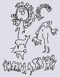 Ритуальный танец перед двумя солнечными великанами. Бронзовый век, III–II тыс. до н.э.  Каньон Тамгалы близ Алма-Аты (Казахстан)