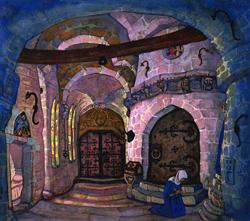 Н.К. Рерих. В монастыре. Эскиз к пьесе М. Метерлинка «Сестра Беатриса».