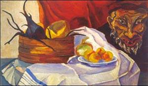 Юрий Рерих. Натюрморт. Фрукты и дьявол. 1917.