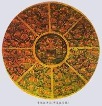 Металлическая мандала в форме Колеса учения. Китай