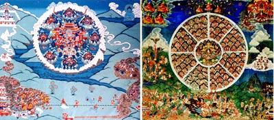 Танки Шамбалы XIX-XX вв. Шамбала изображена парящей над землей, внизу на земле происходит сражени. В центре битвы - стреляющие пушки