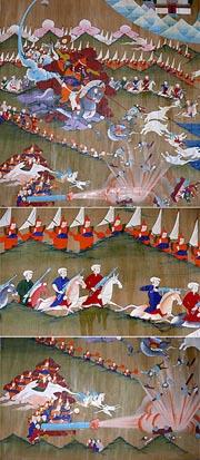На танках современных тибетских художников грядущая война Шамбалы с силами зла изображается с применением современного оружия. Монастырь Сэргомпа, Тибет