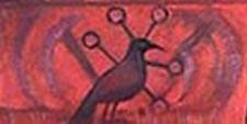 Изображение птицы в левом нижнем углу картины.