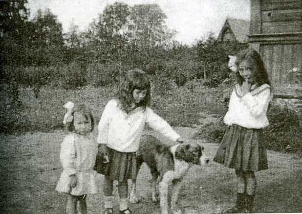 Таня, Людмила и Злата Митусовы. Оредеж, лето 1916года.