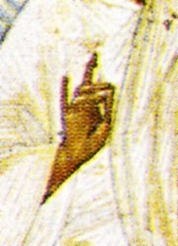 Одноперстие. Фрагмент иконы Преображения Господне школы Феофана Грека