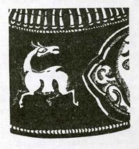 Рис.6. Изображение бегущего оленя на крышке футляра для амулета (Дерге)