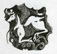 Рис.7. Изображение оленя на посеребренном пенале (Дерге)