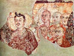 Будда и шесть монахов. Китай, III век.