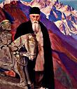С.Н.Рерих. Портрет Николая Рериха у скульптуры Гуга Чохана. 1937.