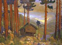 Н.К.Рерих. Дом Сольвейг (избушка в лесу) .1912. Эскизы к пьесе Г.Ибсена