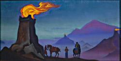 Н.К. Рерих. Огни победы(Дозорные огни на гобийских башнях).1940