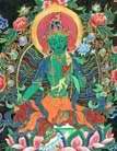 Зеленая Тара, богиня милосердия (в руке держит тройной лотос) (фрагмент)