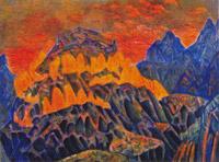 Н.К.Рерих. Заклятие огня (эскиз декорации). 1907