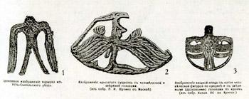 Н.К. Рерих. Проекты мебели на основе  образцов пермского звериного стиля. 1899. Спинка стула (1) и бочки люльки (2,3).