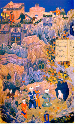 2. Искендер у дервиша-мудреца. (Хамсе, 1495 г., Лондон, Британский музей)