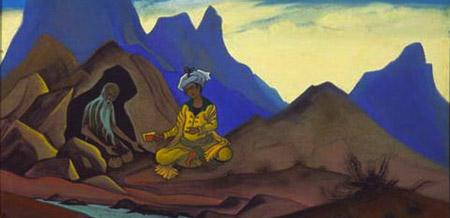 Фрагмент картины Н.К.Рериха Искандер и отшельник. 1938