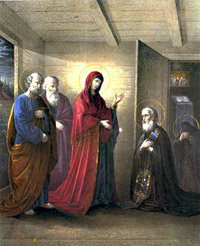Неизвестный литограф. По рисунку И.С.Болдырева. Явление Богоматери Преподобному Сергию. 1863г.