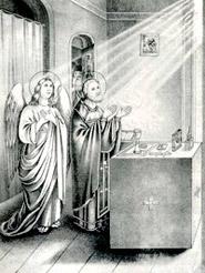 Неизвестный литограф. Преподобный Сергий священнодействует. 1859г.
