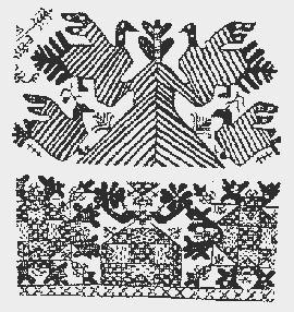 Композиции северорусской вышивки. Внизу  индийская  вышивка.