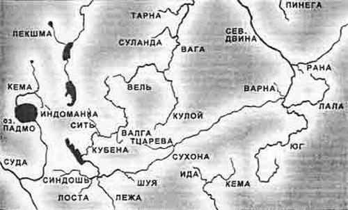 Карта с названиями рек Вологодской губернии. 1860 год.