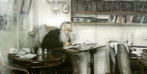 В. Н. Мешков. Л. Н. Толстой в яснополянской библиотеке (1910).