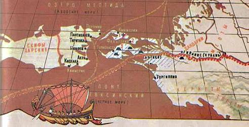 Карт 2.  Северное Причерноморье во времена Боспорского царства.