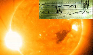 Внизу: белая вспышка 2006 года.В 1859 году была гораздо мощнее. Такая, что зашкаливало магнитометры (вверху).