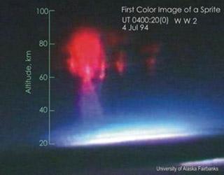 Первое цветное изображение спрайта, снятое с самолёта (Wikipedia.ru /Молния)