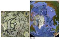 (37). Сопоставление карты Меркатора с современной картой