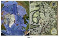 Рис. 43 Сравнение береговой линии Британской Америки с картой Меркатора