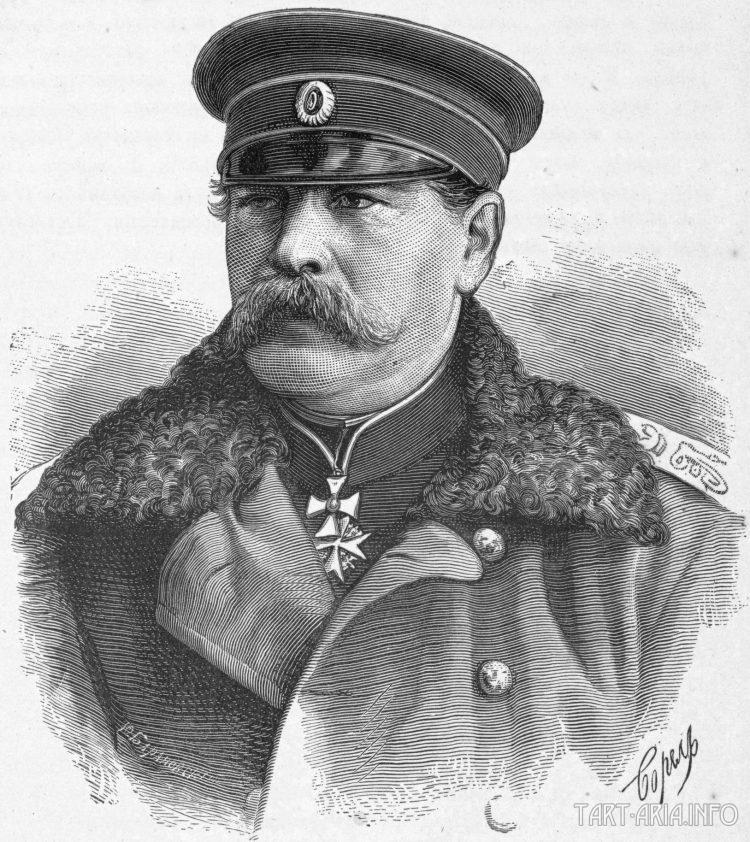 Гравюра с фотографии 1878 г. Граф Эдуа́рд Ива́нович Тотле́бен (нем. Franz Eduard Graf von Totleben; 8 (20) мая 1818, Митава, Российская империя — 19 июня (1 июля) 1884, Бад-Зоден (близ Франкфурта-на-Майне), Германская империя) — русский генерал, знаменитый военный инженер, генерал-адъютант (1855), инженер-генерал (1869)